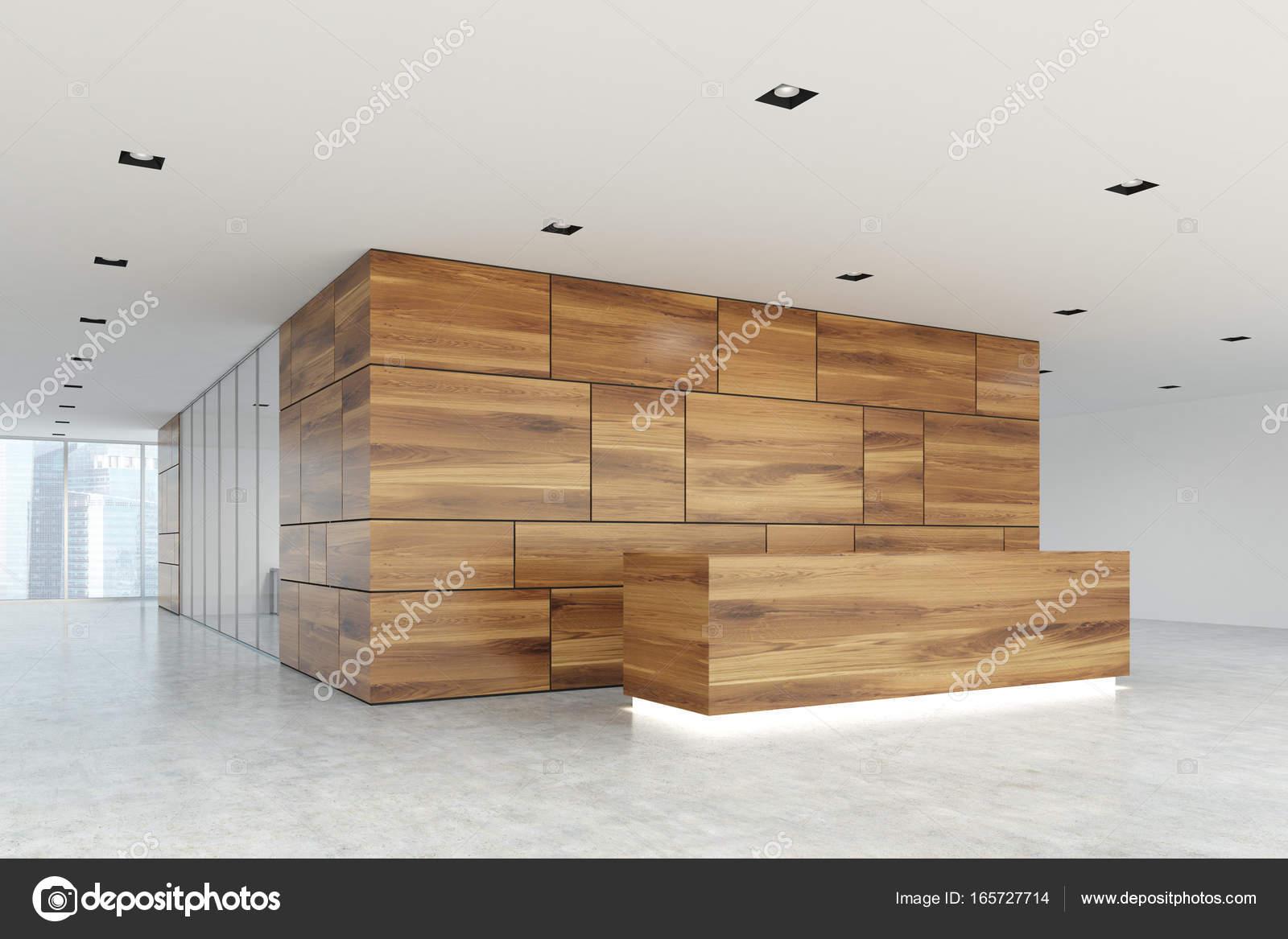 Aus Holz und Glas Rezeption Lobby Closeup, Seite — Stockfoto ...
