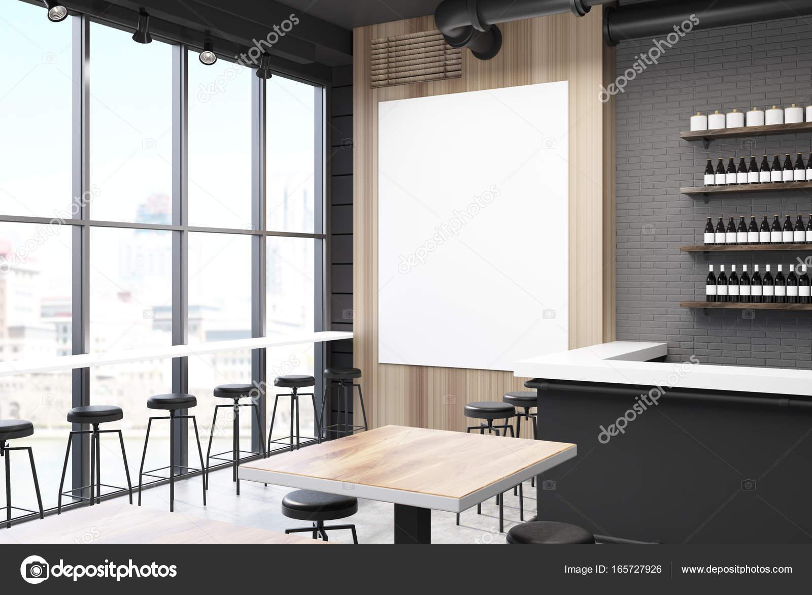 Grigio e bar in legno con un lato di poster u2014 foto stock