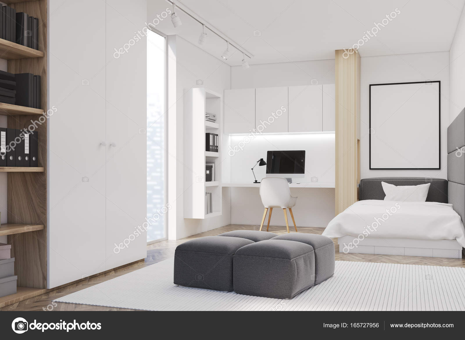 Camera da letto bianca e l\'home office, singolo, lato — Foto Stock ...
