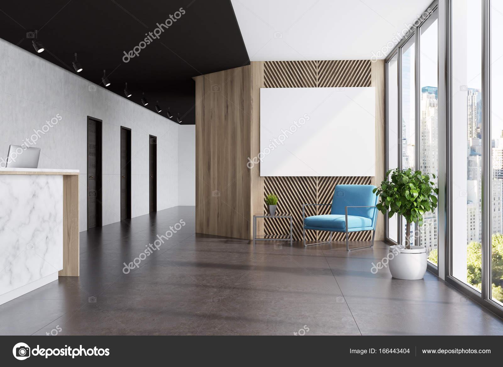 Marbre et bois ascenseur hall affiche bleu u photographie