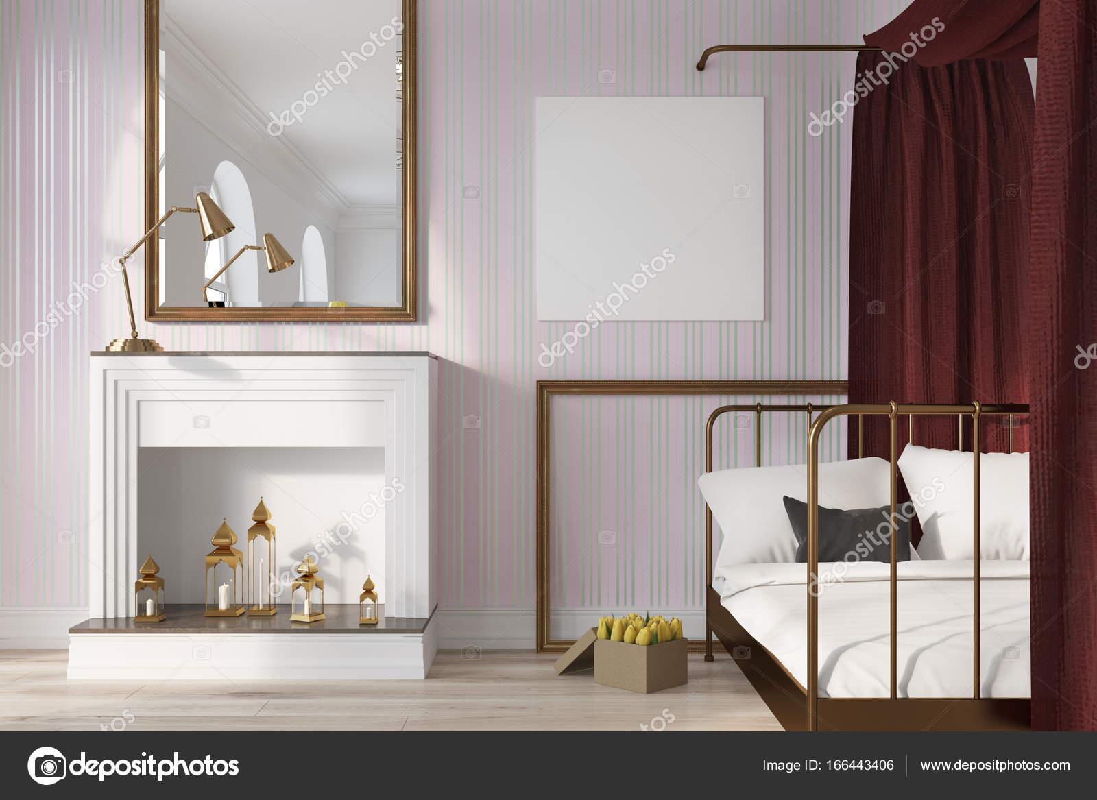 Roze slaapkamer, open haard en poster — Stockfoto © denisismagilov ...