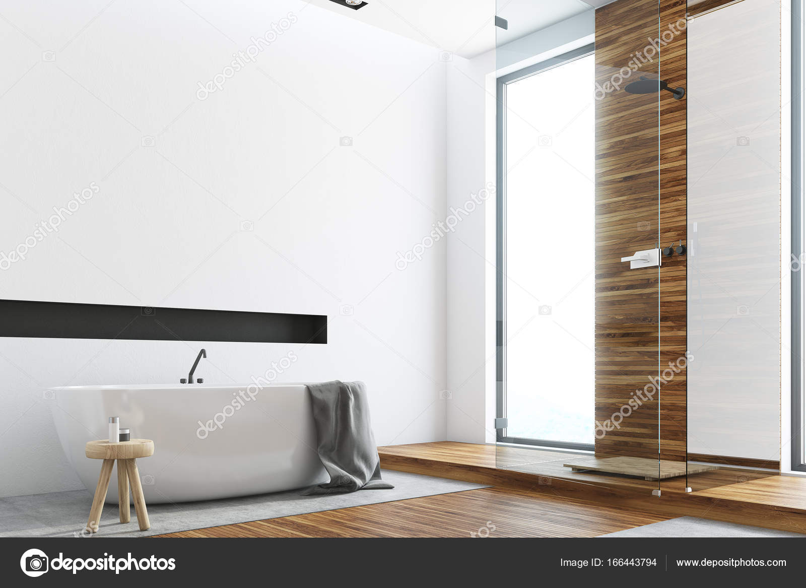 Bagno Legno E Bianco : Bagno in legno e bianco lato vasca rotonda u foto stock