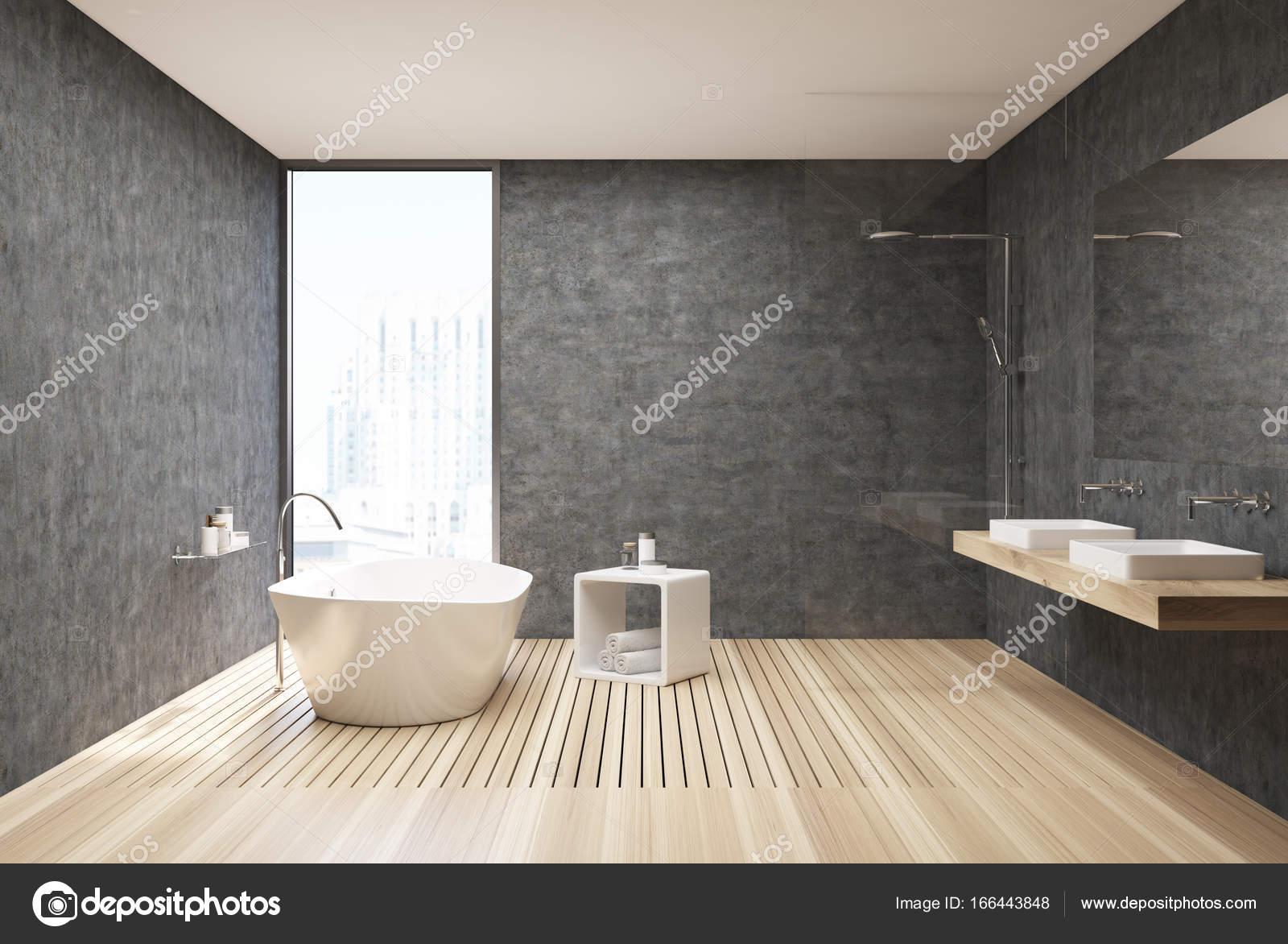 Salle de bains béton et bois — Photographie denisismagilov ...