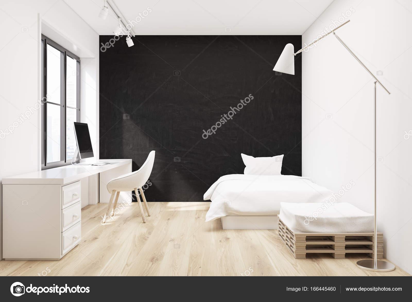 Poster, computer e camera da letto nera — Foto Stock ...