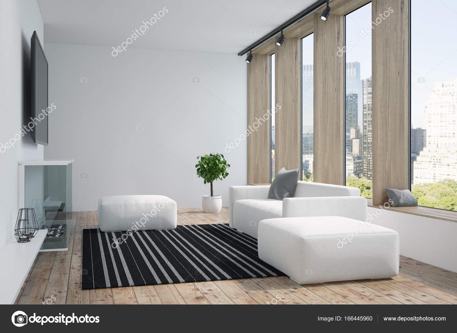 White and wooden living room, TV — Stock Photo © denisismagilov ...
