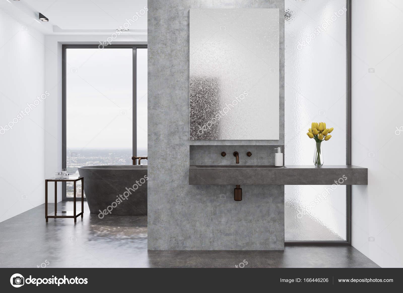 Wasbak Badkamer Grijze : Concrete badkamer grijze badkuip en wastafel u stockfoto