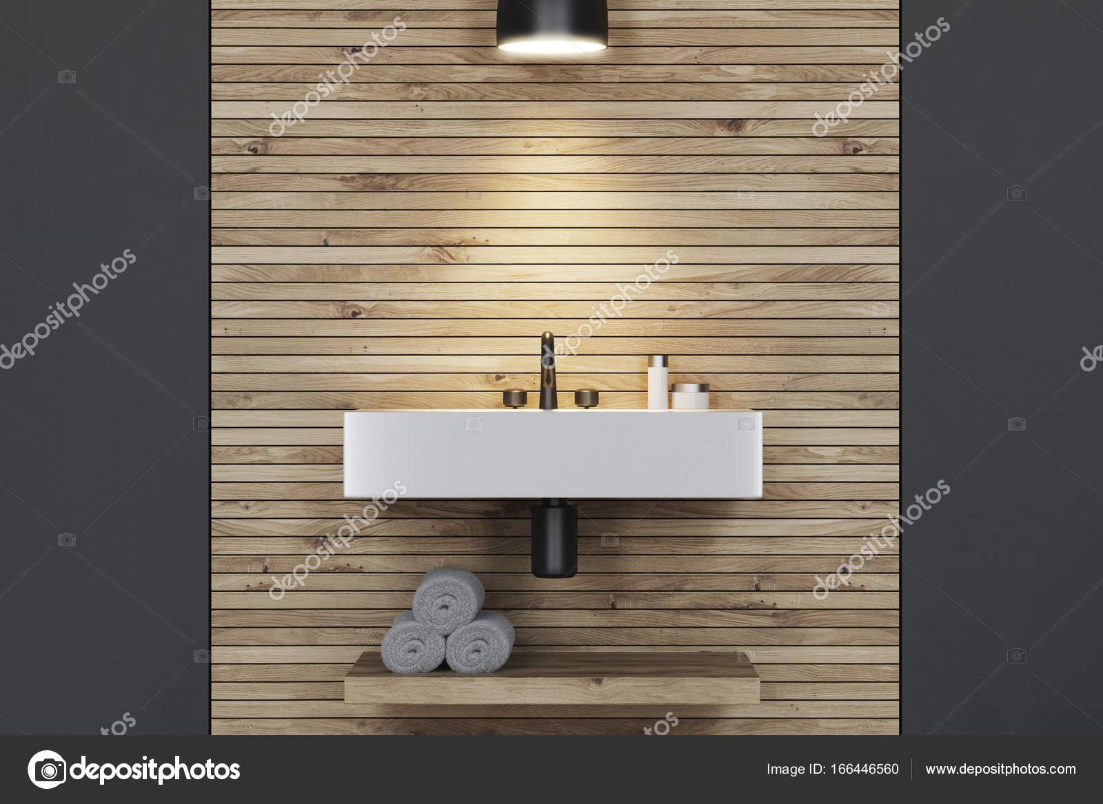 Wit grijs en houten badkamer wastafel closeup u2014 stockfoto