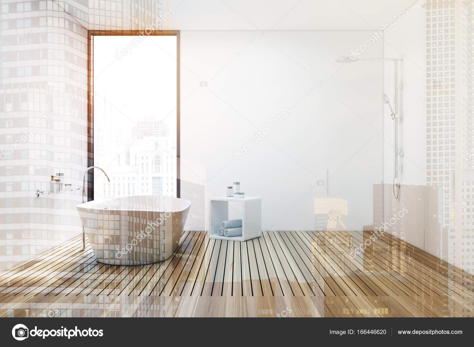 Houten vloer badkamer en douche, dubbele — Stockfoto ...
