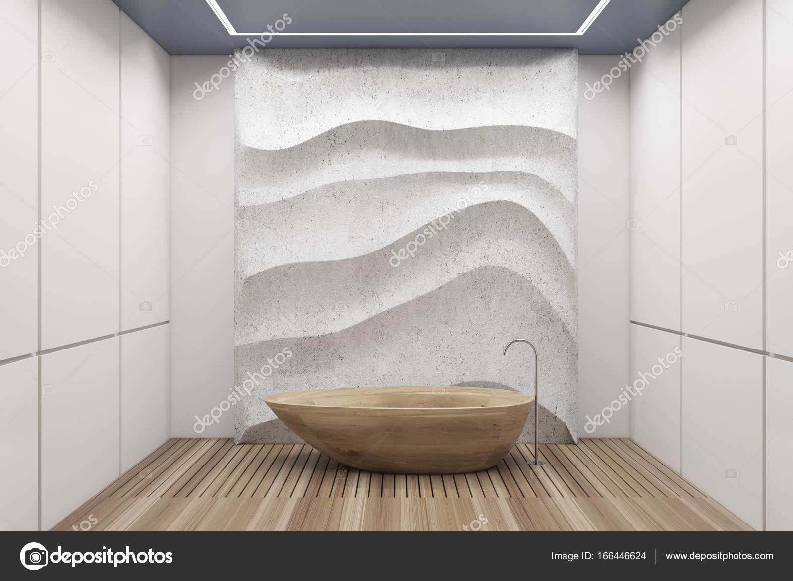 Vasca Da Lavare In Cemento : Bagno bianco e cemento vasca di legno u foto stock