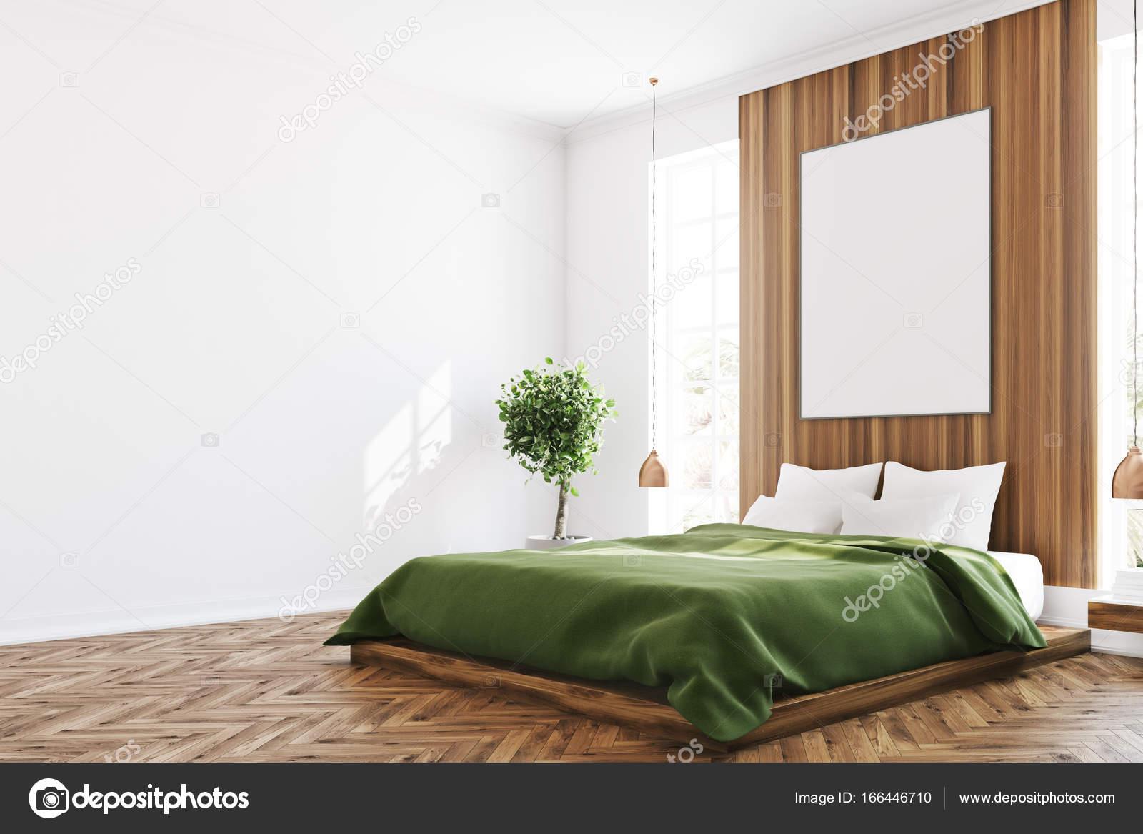 Chambre blanche et en bois, coin de l\'affiche — Photographie ...