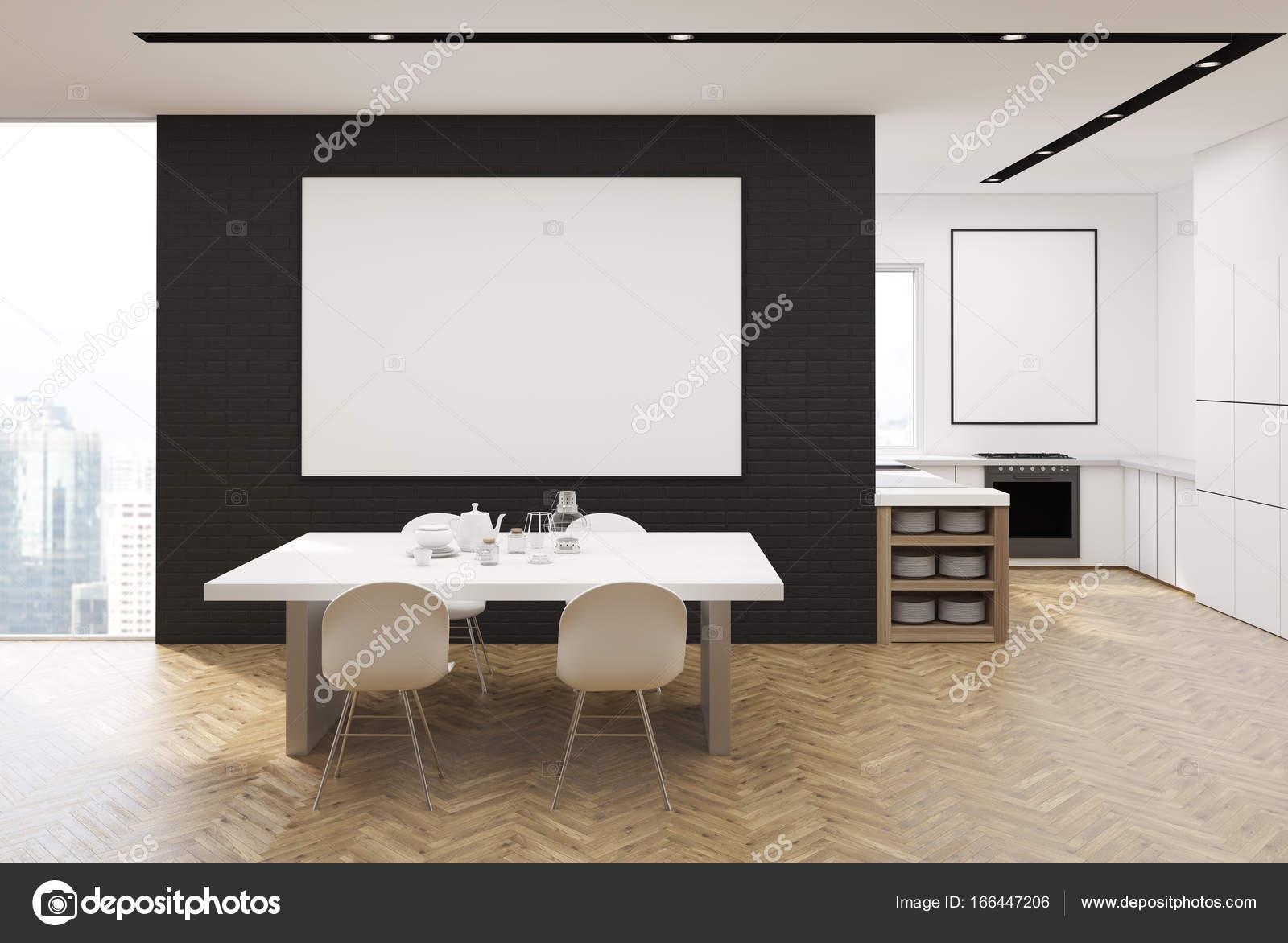 Cucina bianca e nera con una tabella, poster — Foto Stock ...