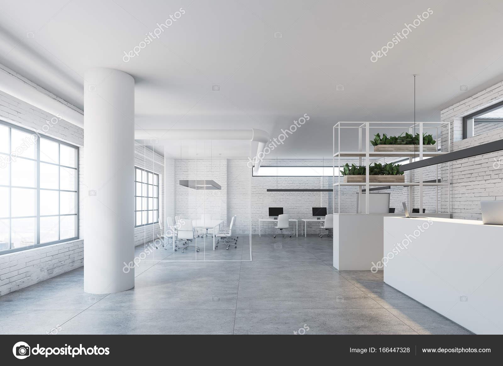 wall office desk. White Brick Wall Office, Reception Desk Side \u2014 Stock Photo Office