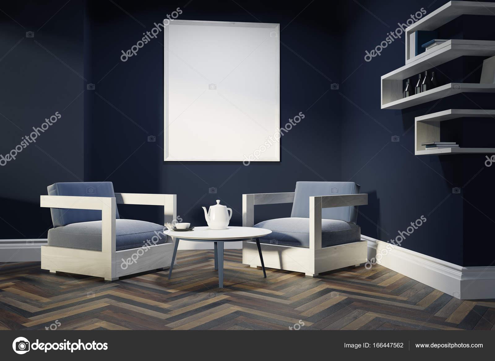 Donker blauwe woonkamer, Fauteuils, poster — Stockfoto ...