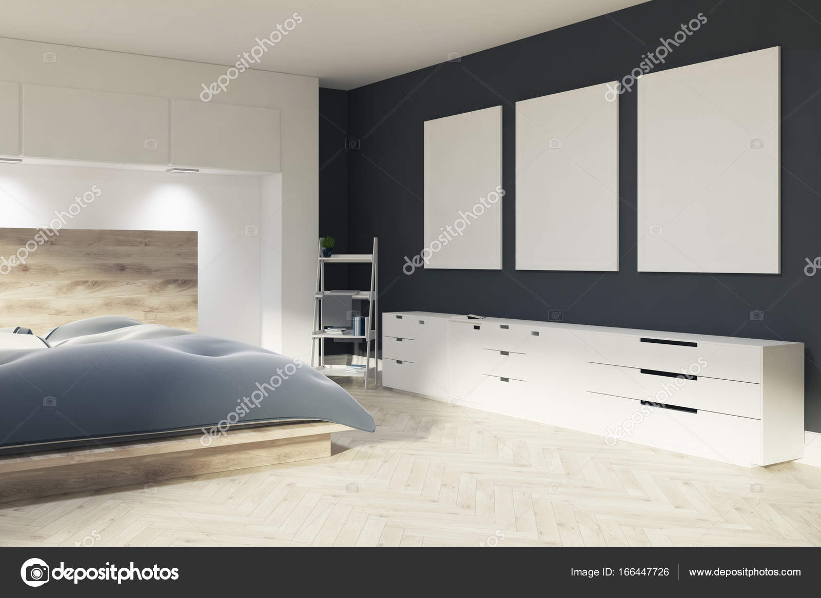 Bianco e nero camera da letto, tre poster — Foto Stock ...