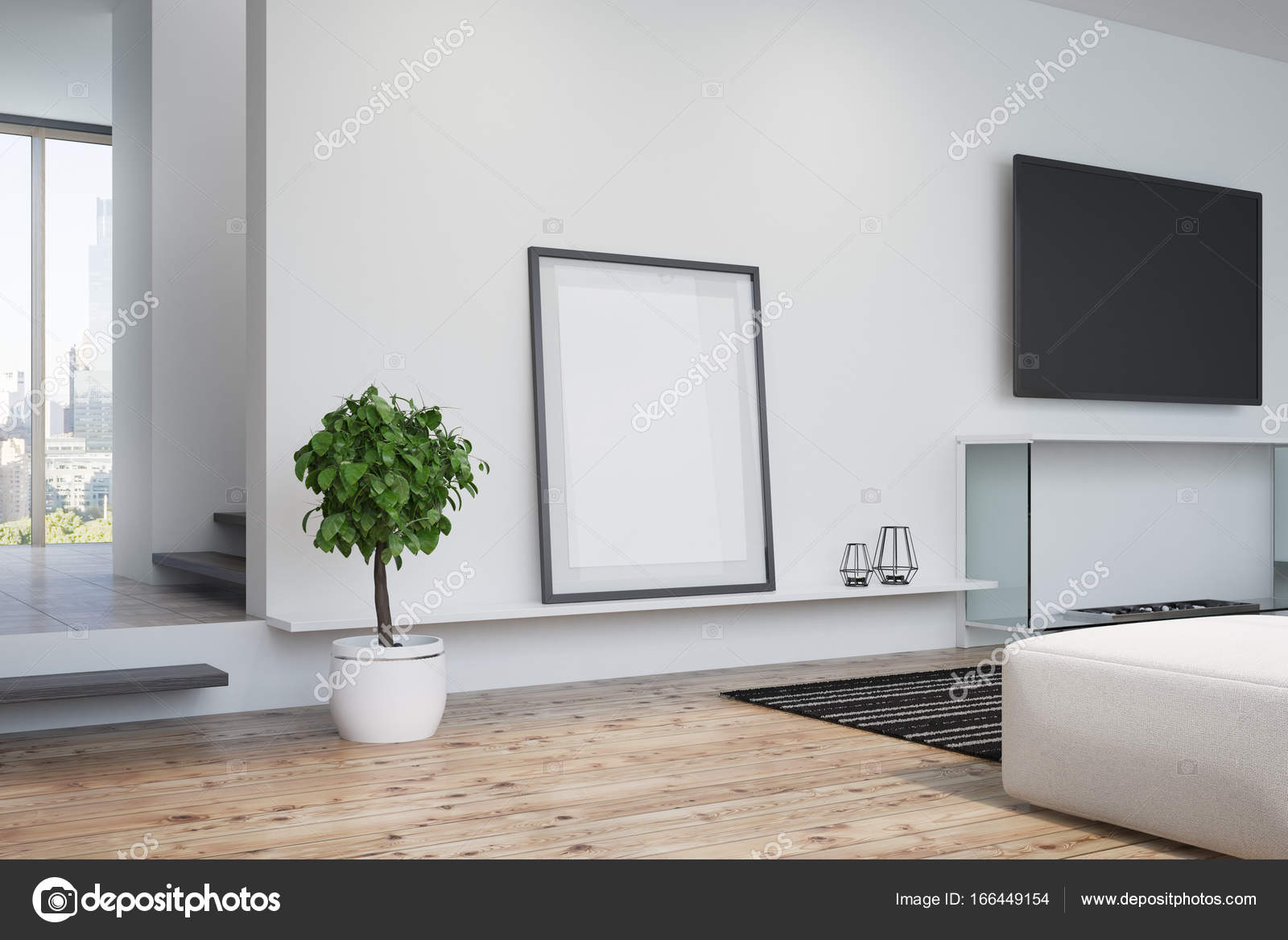 White living room, TV and poster, side — Stock Photo ...