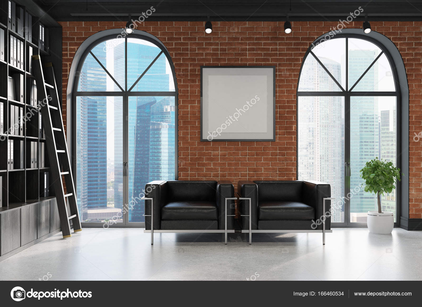CEO bureau, boekenkast en twee fauteuils — Stockfoto ...