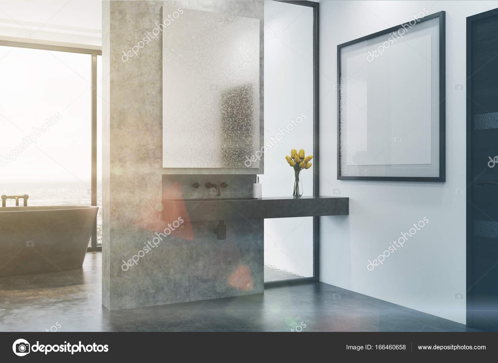 Stronie Wanna I Umywalka łazienka Betonu Szary Stonowanych