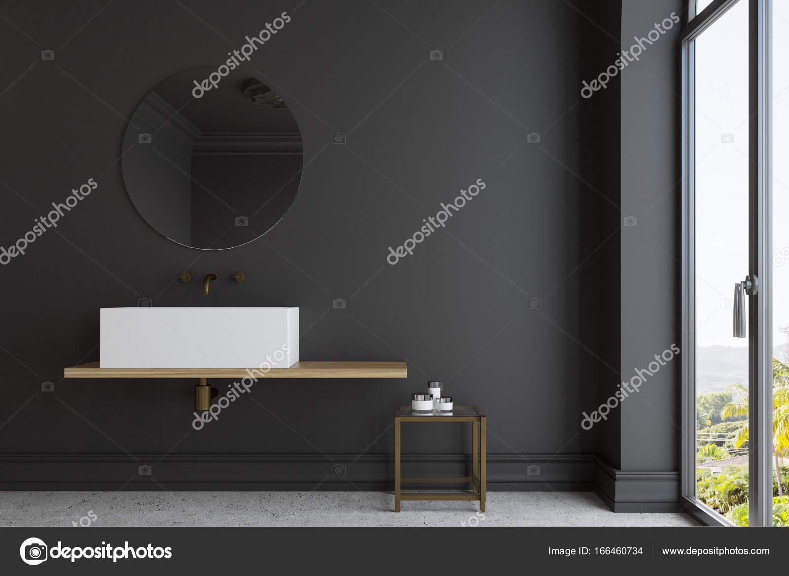 Ronde Zwarte Spiegel : Zwarte badkamer marmeren wastafel en spiegel u2014 stockfoto