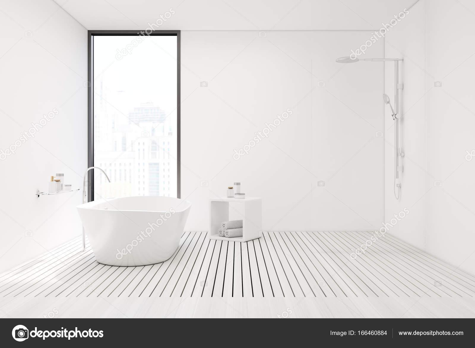 Weißen Holzboden Badezimmer und Dusche — Stockfoto ...