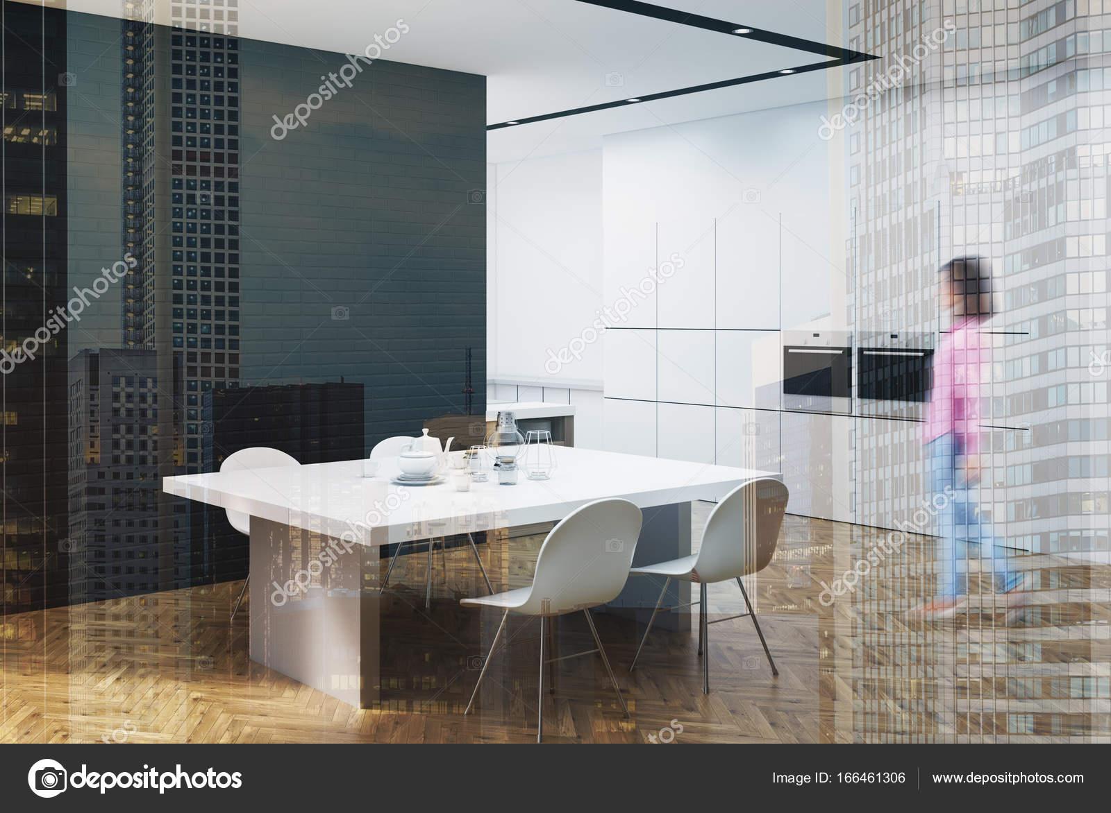Cocina blanco y negro con una mesa, esquina, chica — Fotos de Stock ...