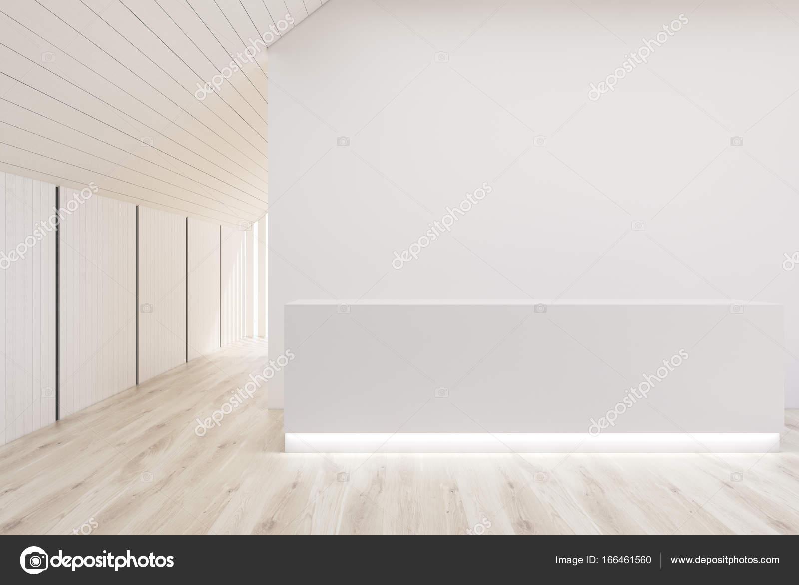 Ufficio Bianco E Legno : Reception ufficio bianco bianco e legno parete u foto stock