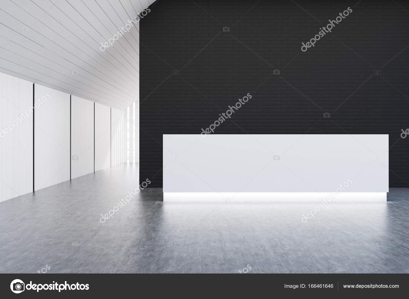 Réception de bureau blanc mur blanc et noir u2014 photographie