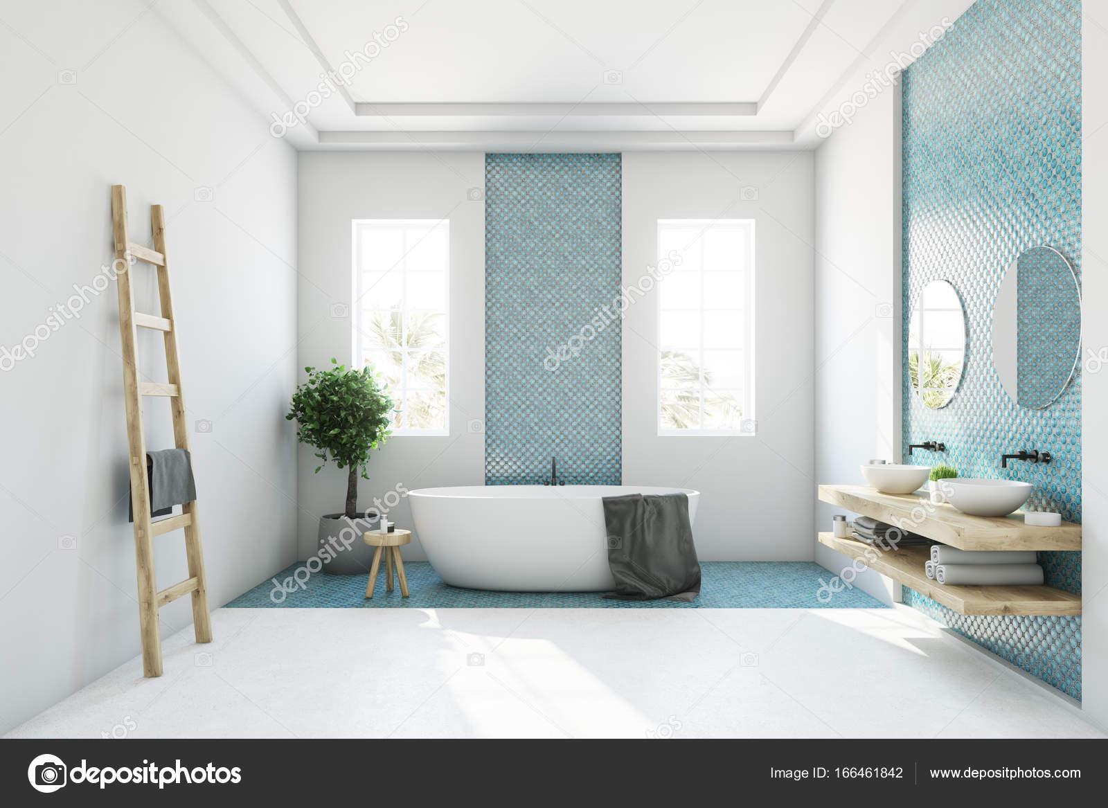 Blue and white bathroom, white tub — Stock Photo © denisismagilov ...