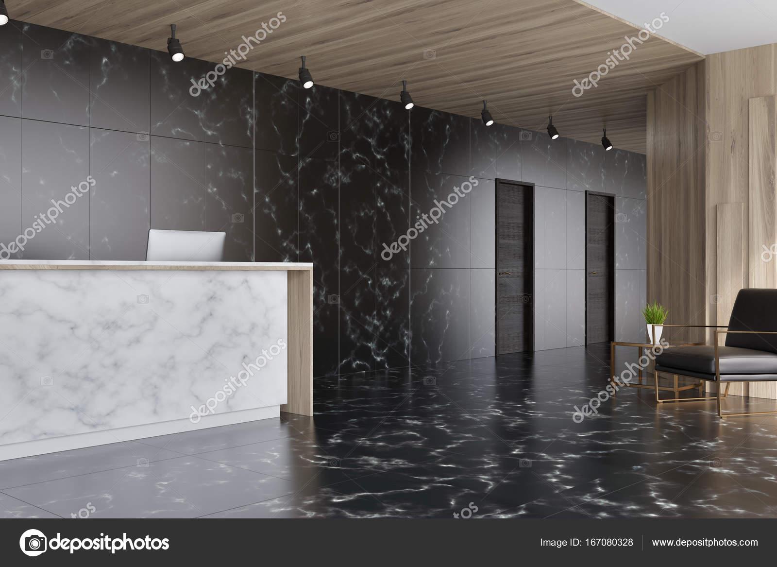 Marbre noir et bois ascenseur hall réception u2014 photographie
