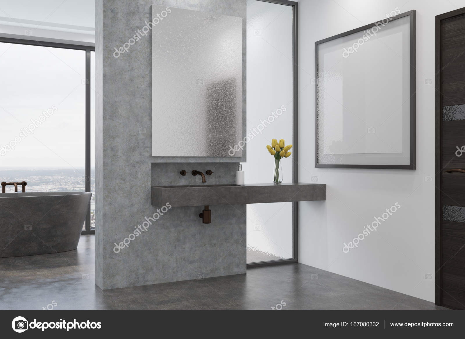 Côté baignoire et évier de salle de bains béton, gris — Photographie ...