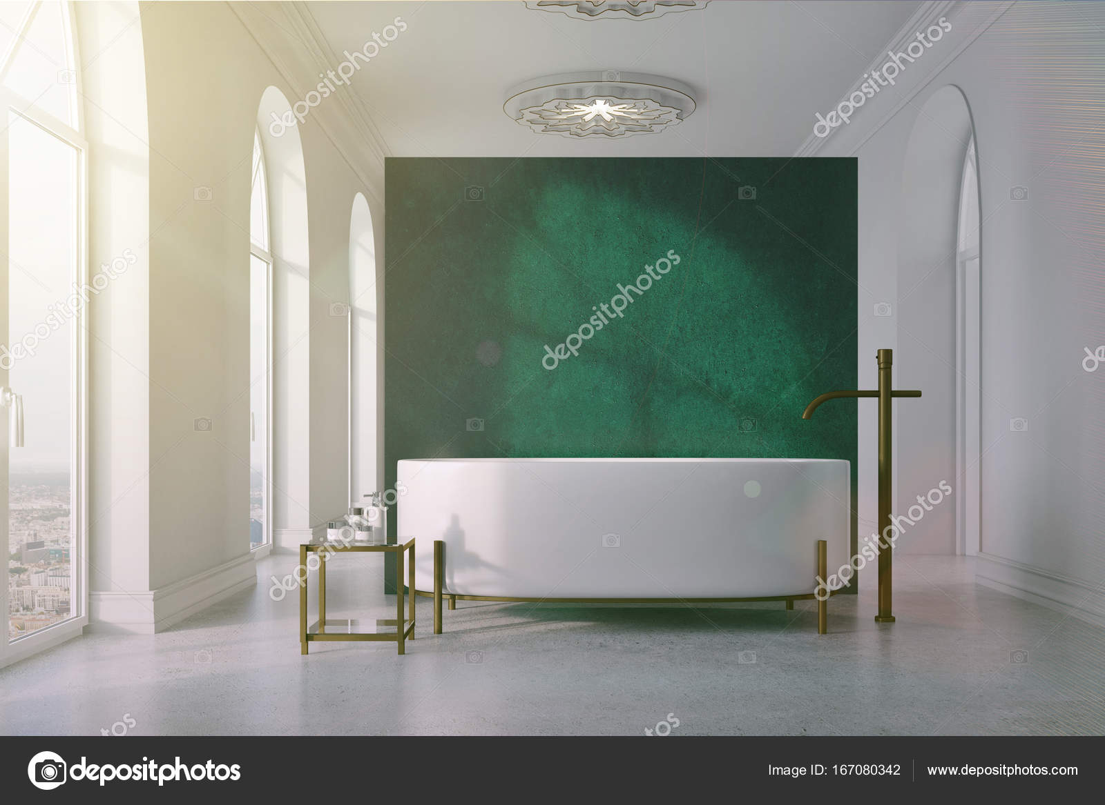 Salle de bain vert et blanc, tour de baignoire tonifié ...
