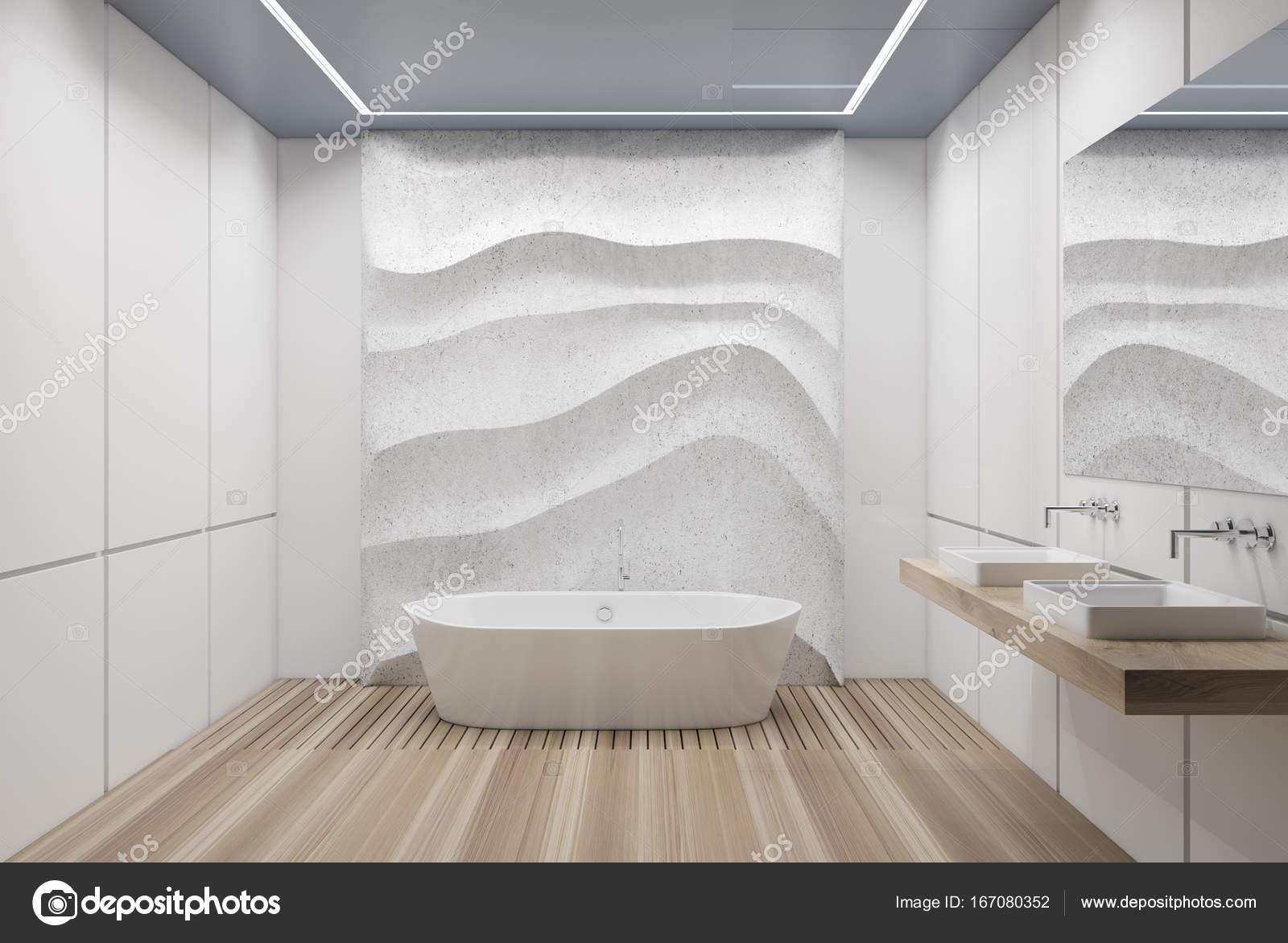 Weiß geflieste Bad, Badewanne und Waschbecken — Stockfoto ...