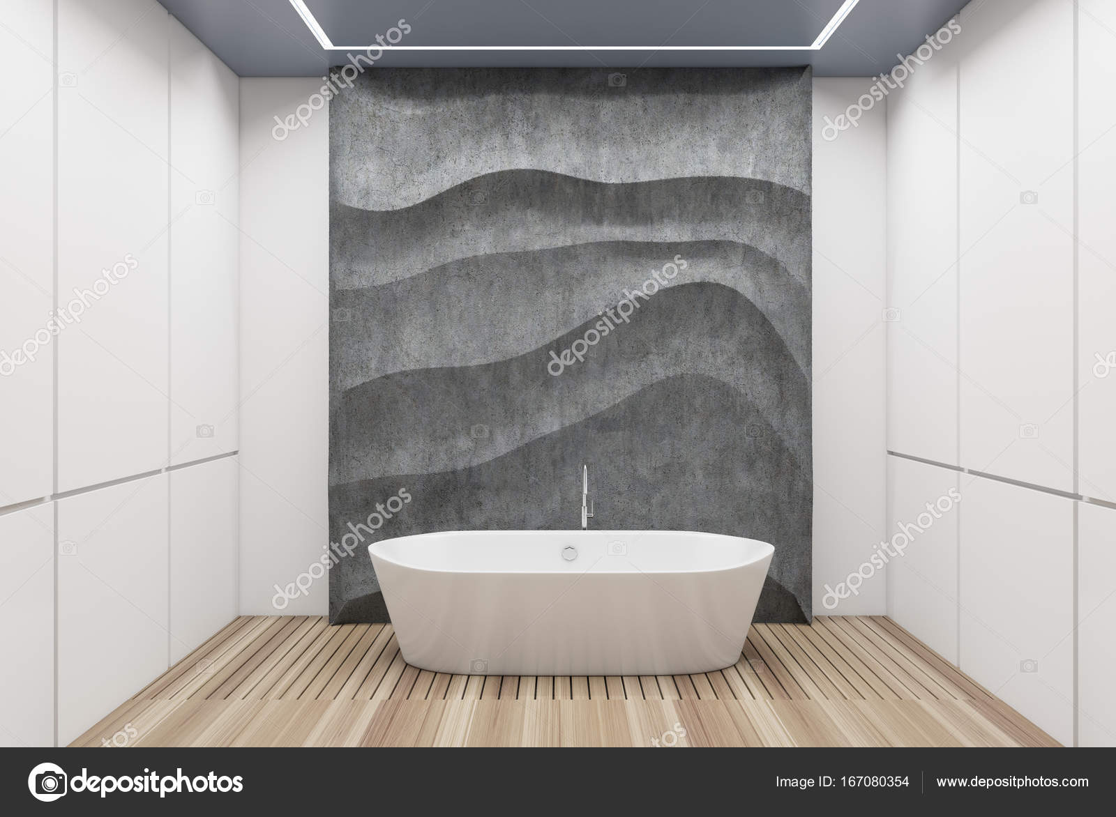 Vasca da bagno bianco e cemento bianco u foto stock
