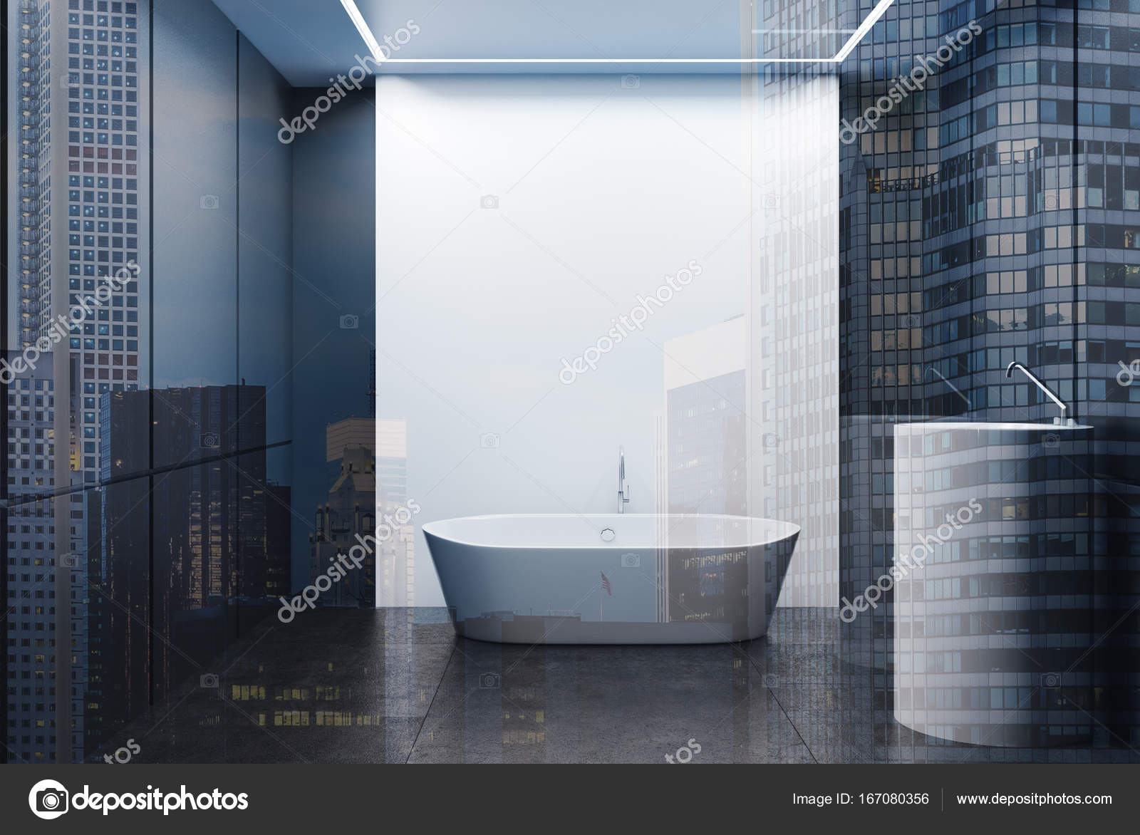 Gray and white tiled bathroom, tub and sink double — Stock Photo ...
