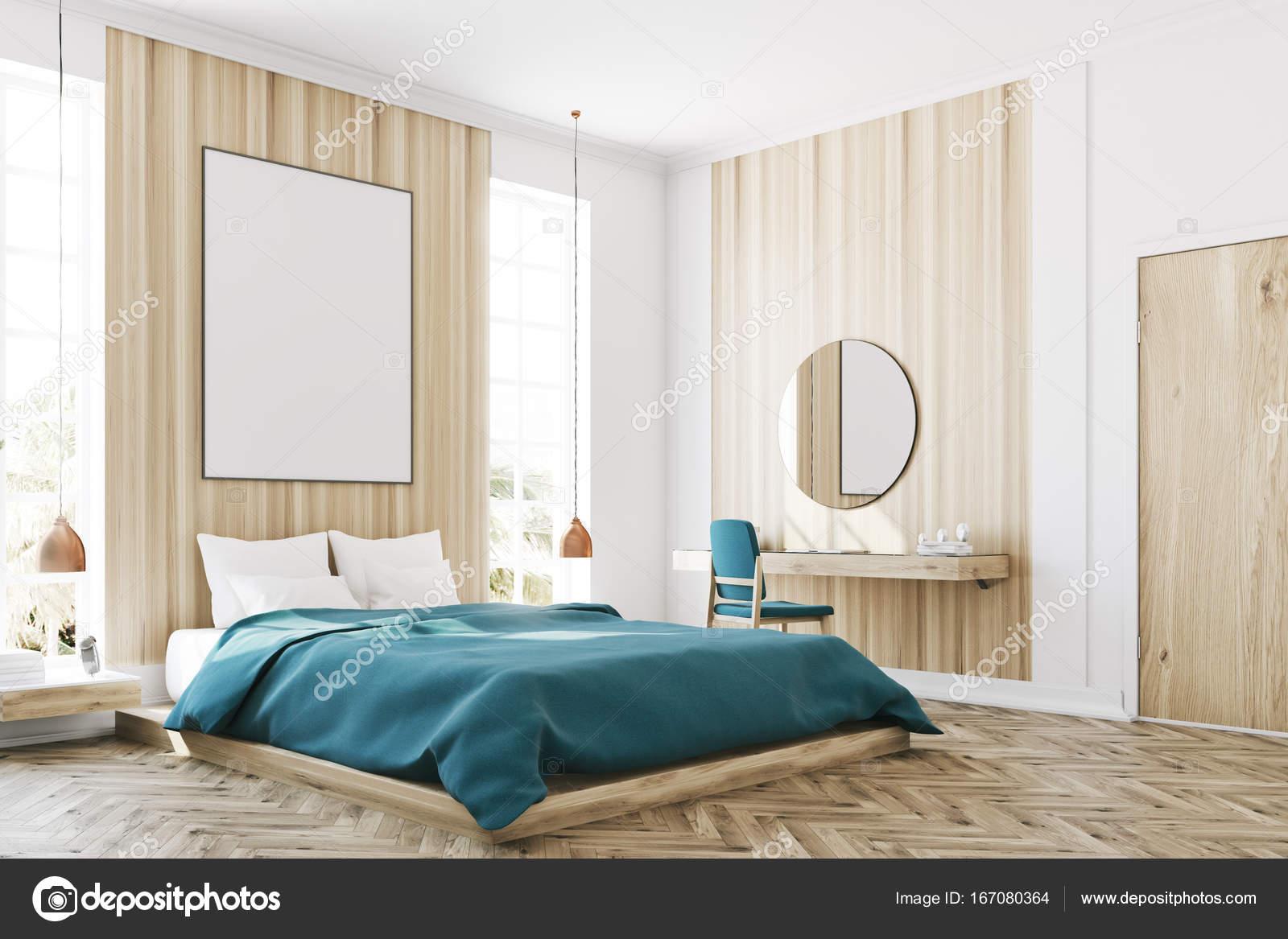 Weiß und Holz Schlafzimmer, Plakat-Ecke — Stockfoto ...