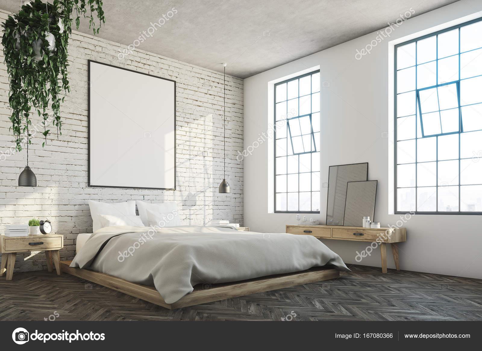 witte bakstenen slaapkamer poster hoek stockfoto