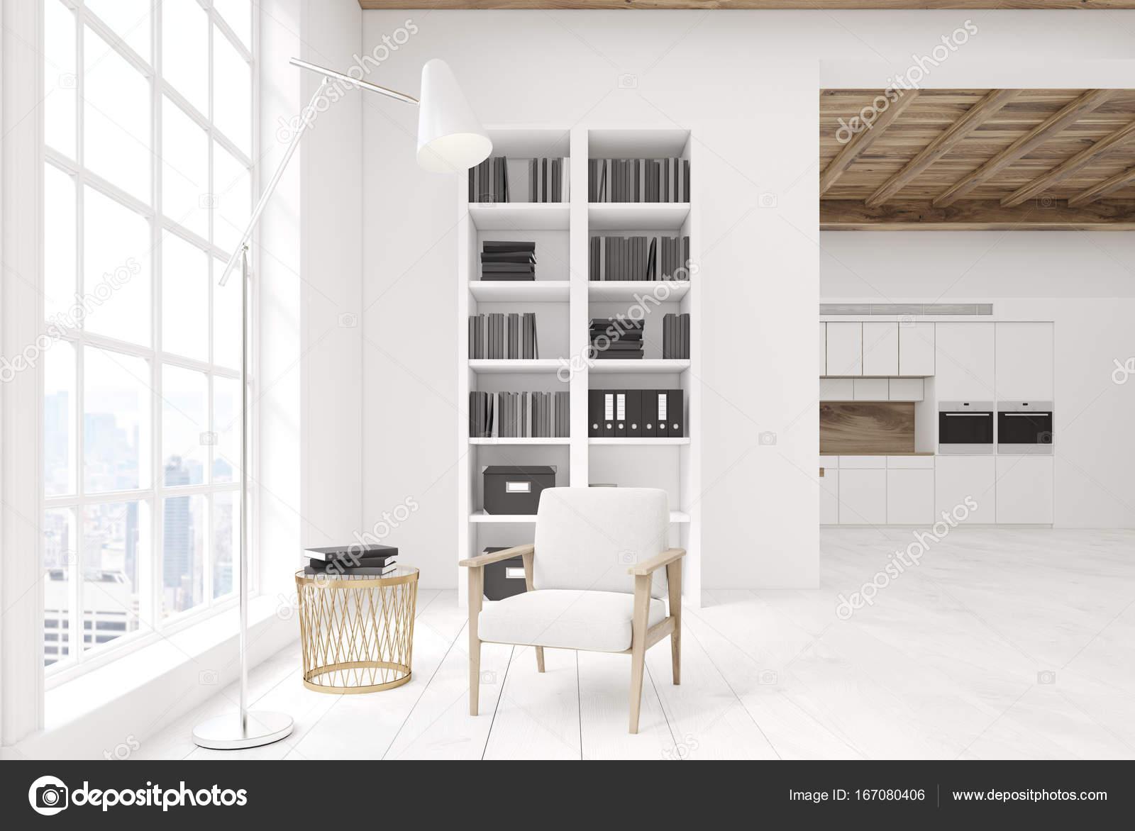 Brilliant Weißes Wohnzimmer Das Beste Von Weiße Mit Einem Bücherschrank, Küche — Stockfoto