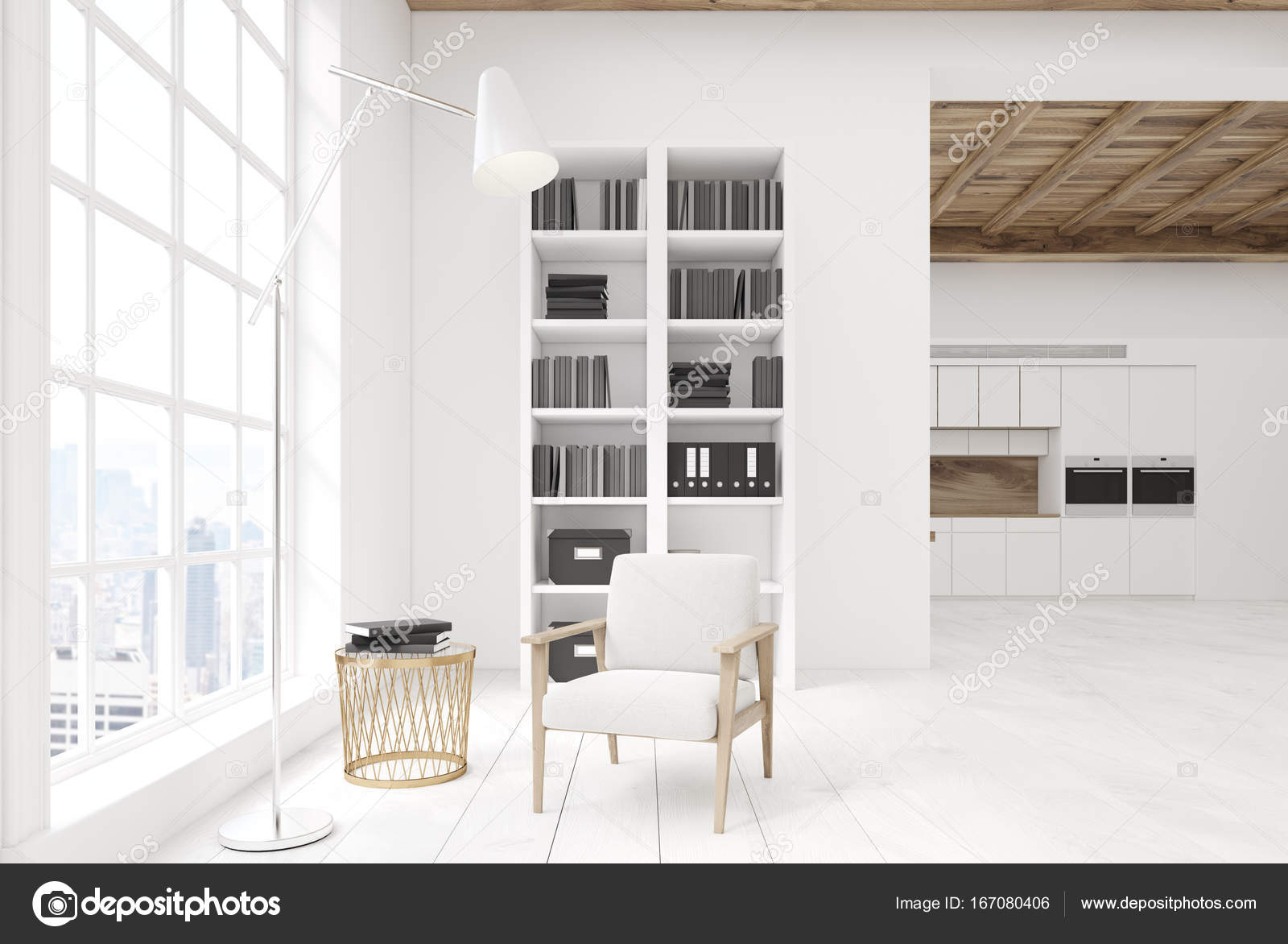 Keuken Met Boekenkast : Wit woonkamer met een boekenkast keuken u stockfoto