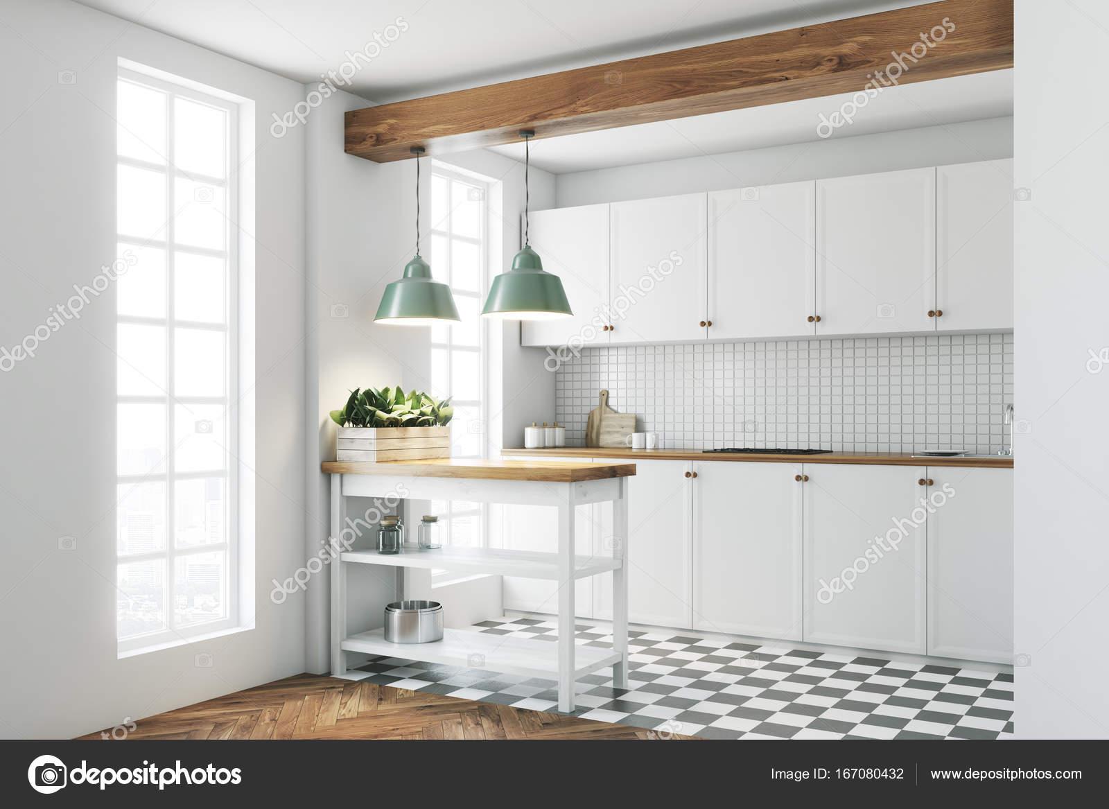 Cucina bianca interni piastrelle piano lato foto stock denisismagilov 167080432 - Piastrelle per cucina bianca ...