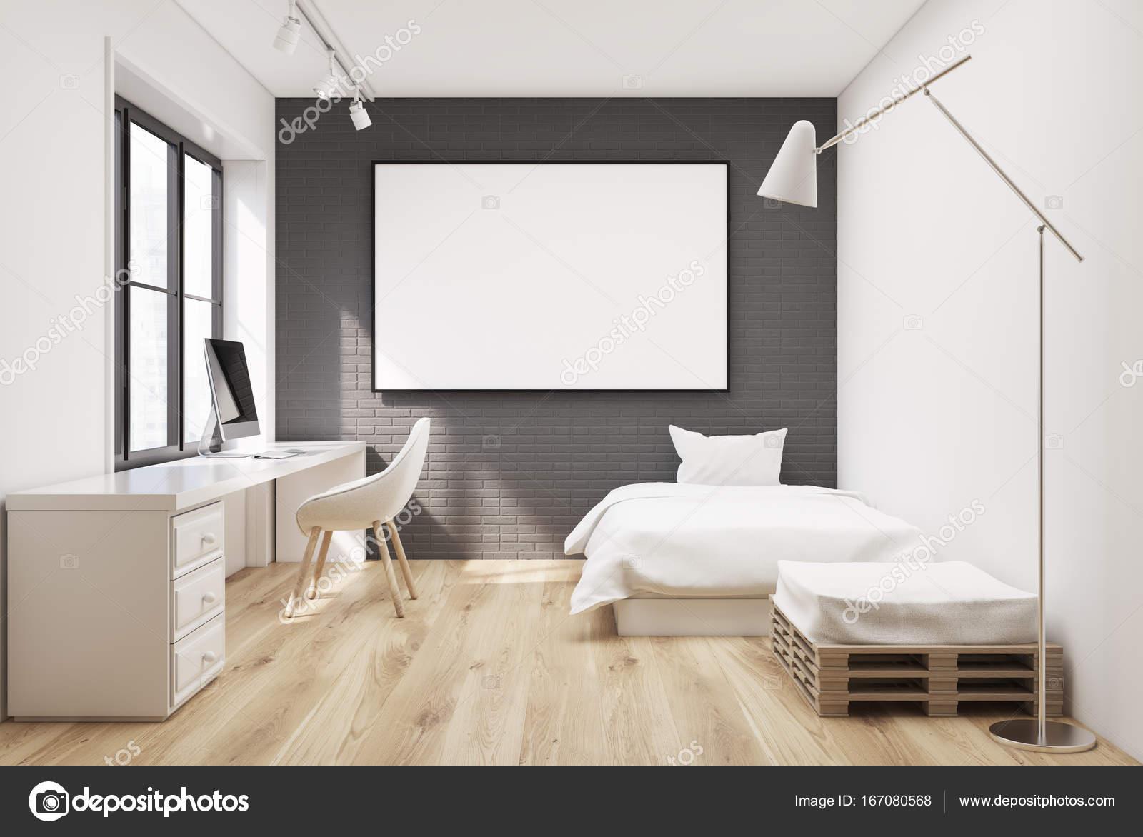 Erstaunlich Grauen Ziegel Schlafzimmer Innenraum Mit Einem Weißen Bett, Ein Sessel Und  Ein Computertisch. Eine Horizontale Gerahmte Poster An Der Wand.