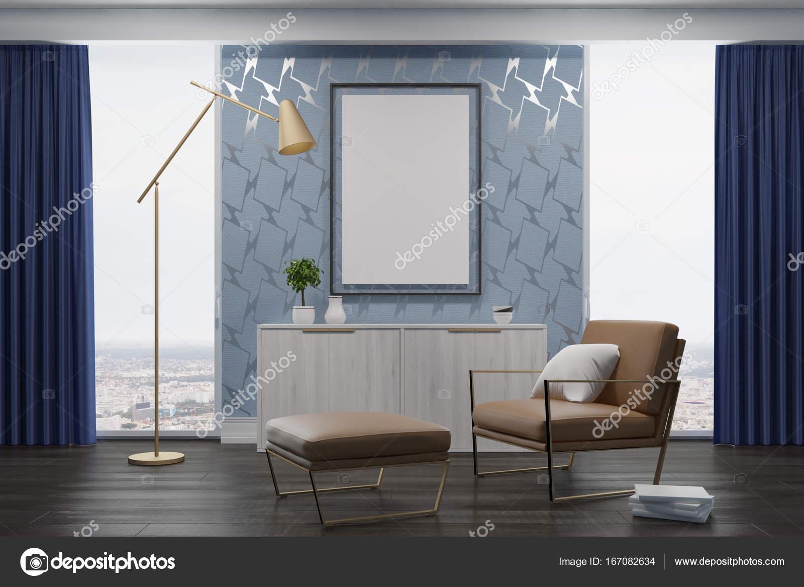 Grijze woonkamer, beige fauteuil — Stockfoto © denisismagilov #167082634