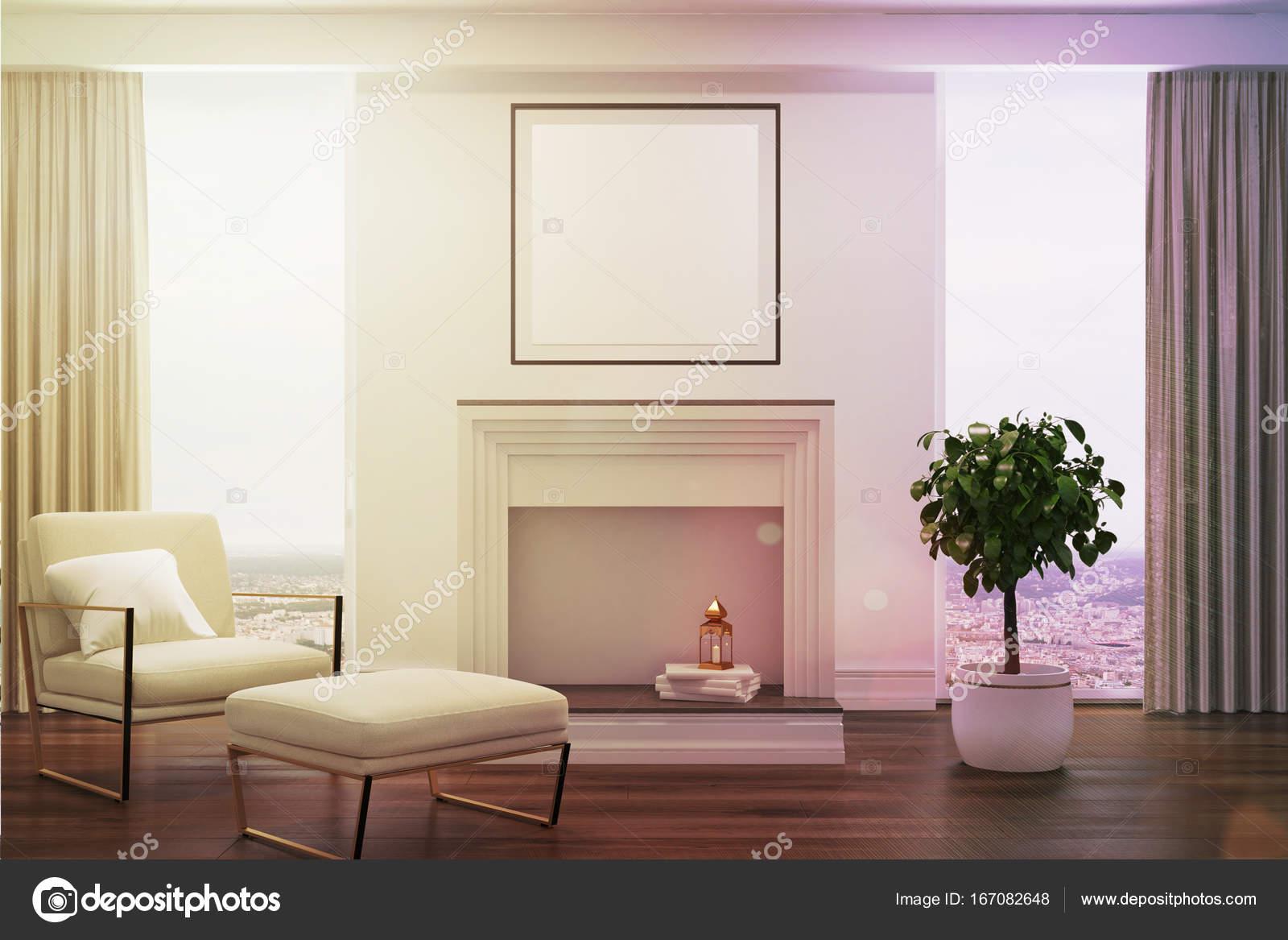 Weiße Wohnzimmer Weiße Sessel Kamin Getönt Stockfoto
