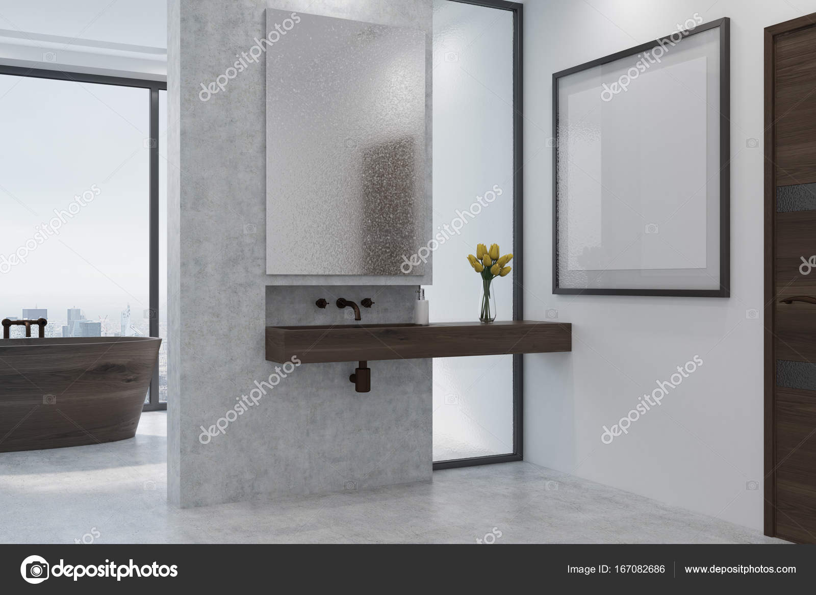 Bagno Legno E Bianco : Bagno bianco e cemento in legno vasca lavabo laterale u foto