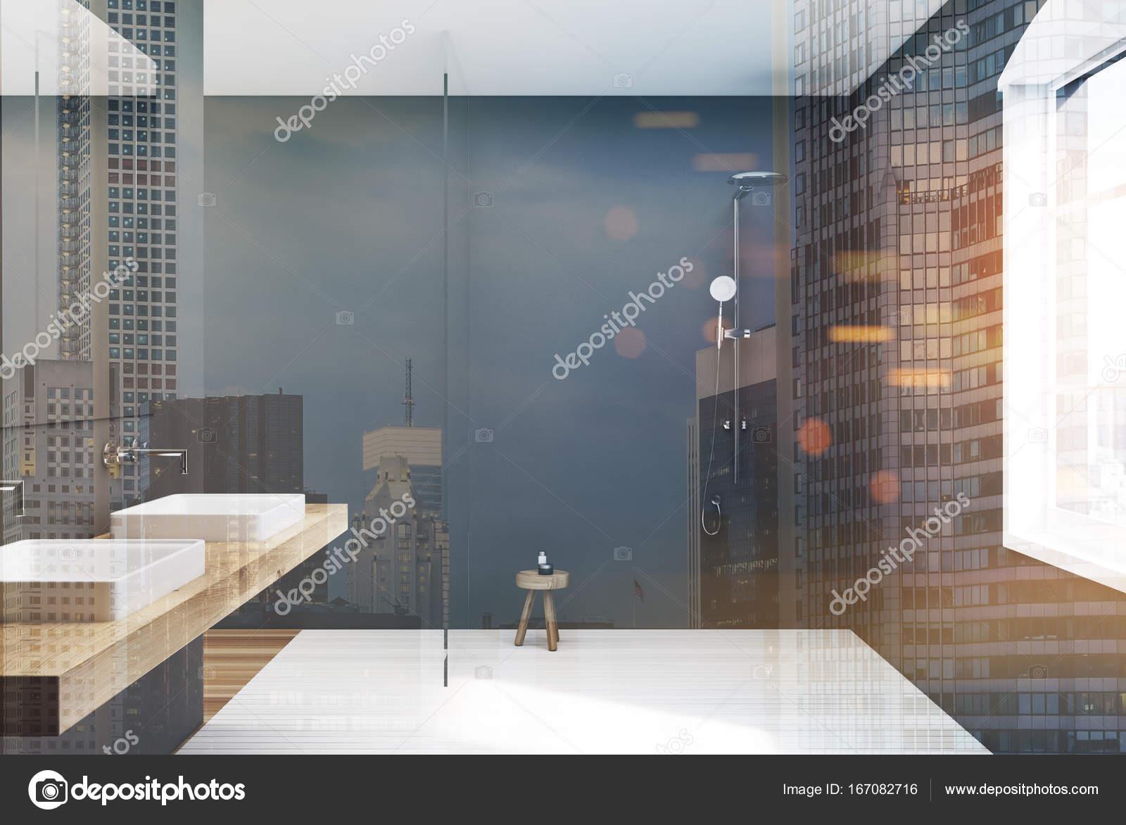 Tons de gris salle de bain, double lavabo et douche, — Photographie ...