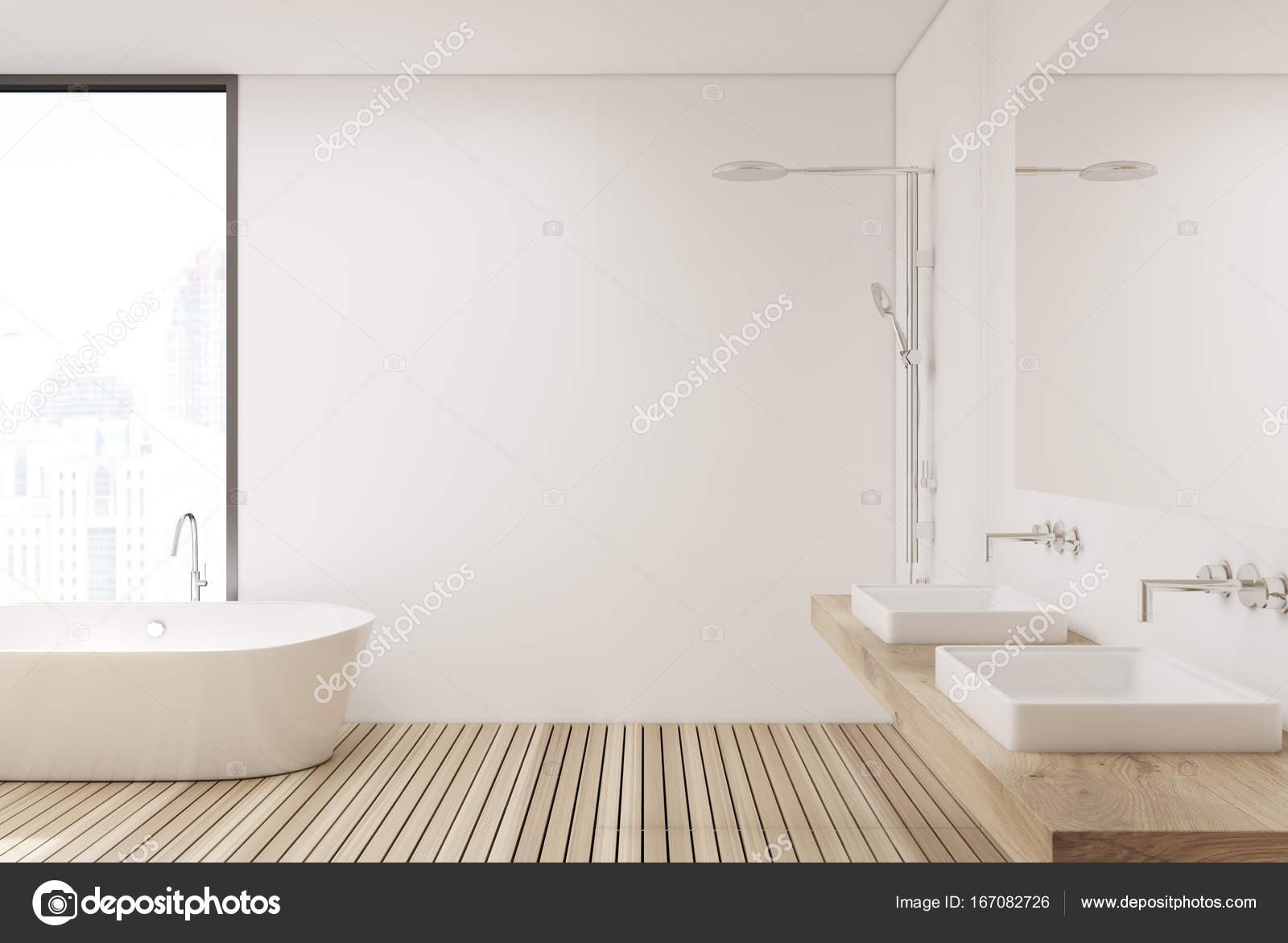 Houten vloer badkamer en douche kant u2014 stockfoto © denisismagilov