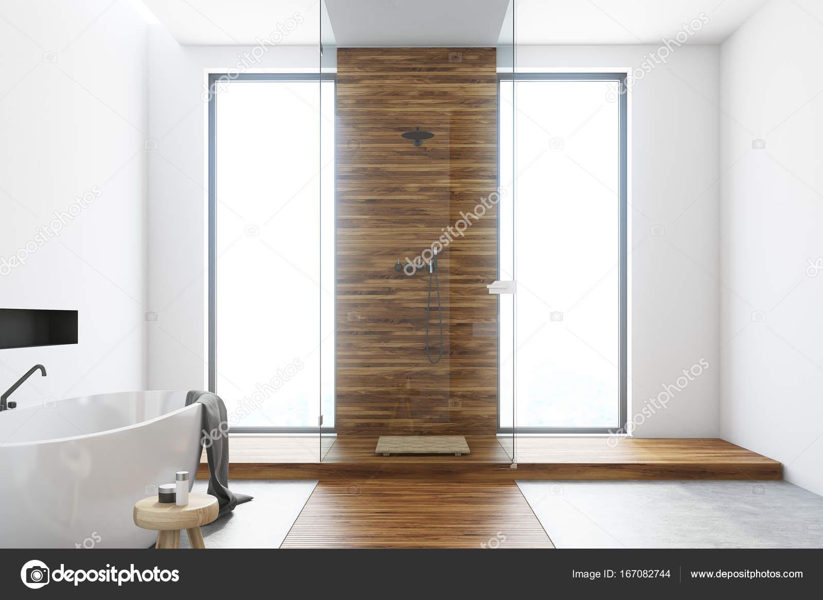 Tina de ba o blanco y madera blanco fotos de stock for Bano blanco y madera