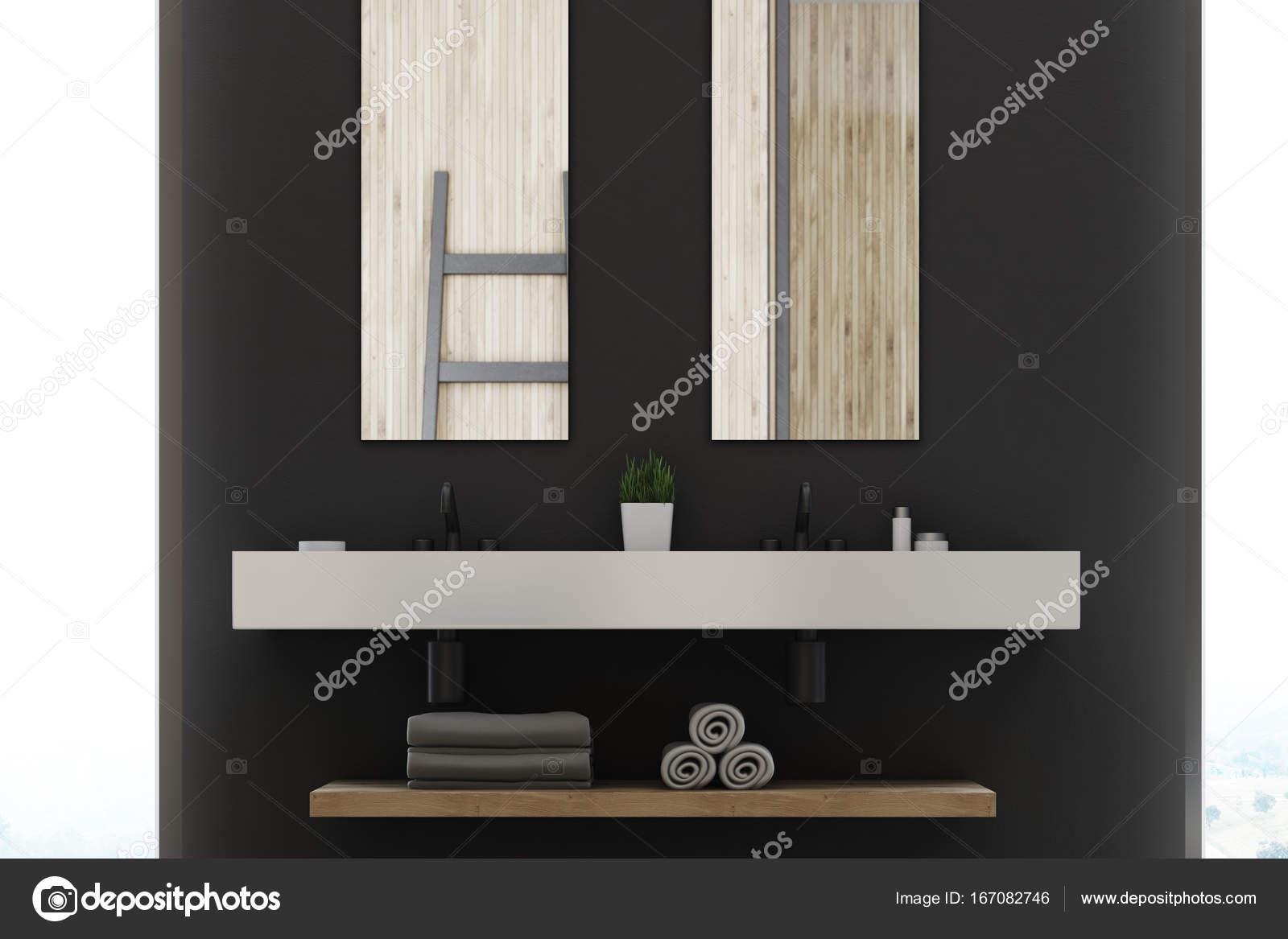 Grijze badkamer, dubbele wastafel, spiegels — Stockfoto ...