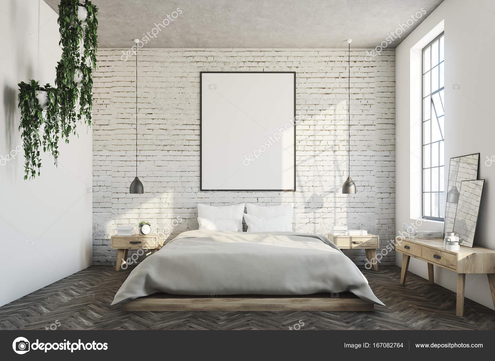 Camera da letto di mattoni bianchi, poster — Foto Stock ...