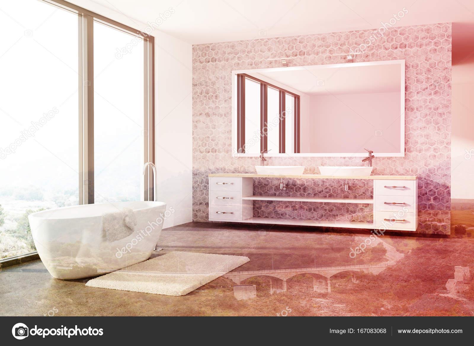 Béton blanc baignoire, salle de bain, évier, loft tonifié ...