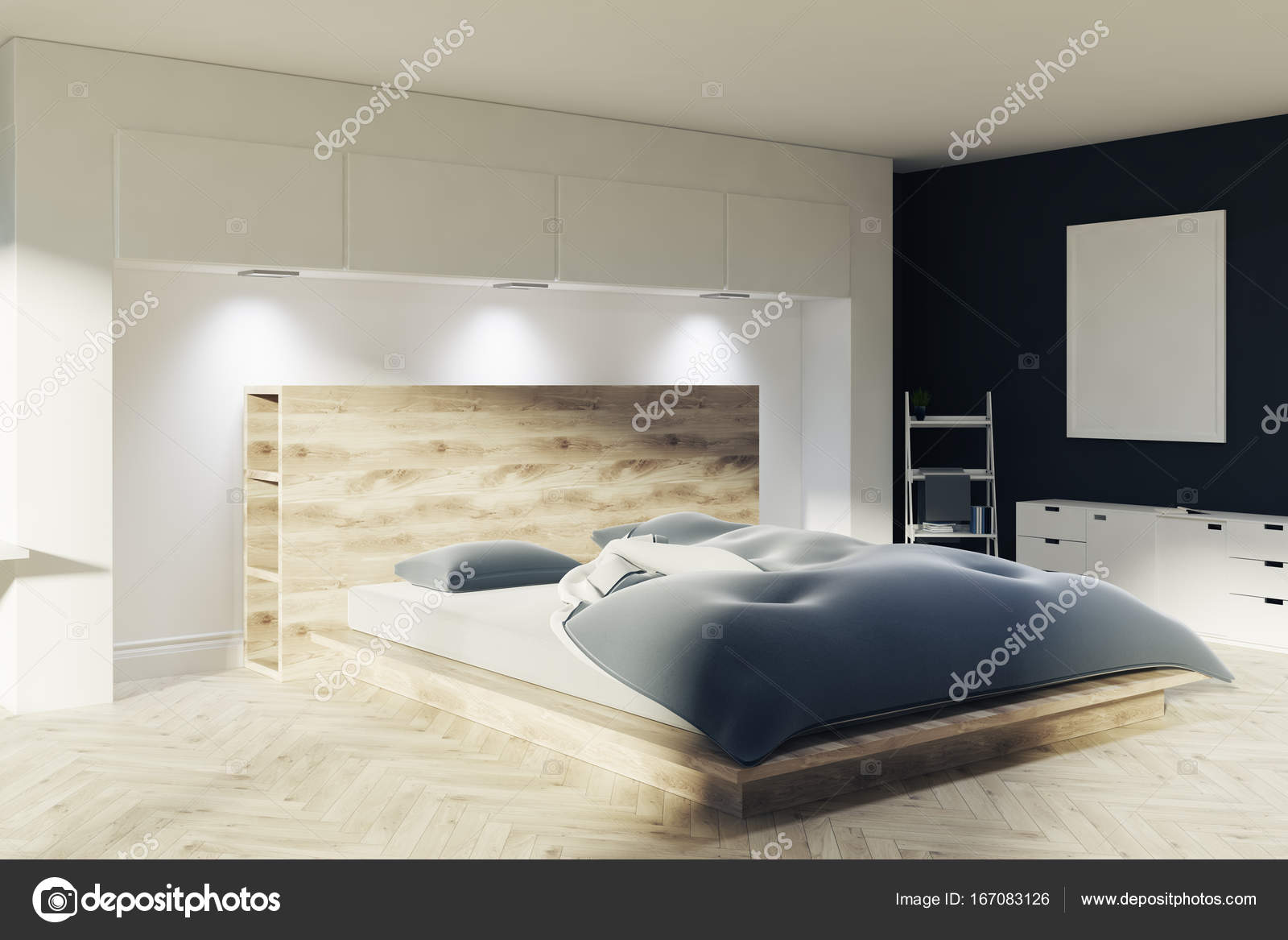 Witte en zwarte slaapkamer, een poster — Stockfoto © denisismagilov ...