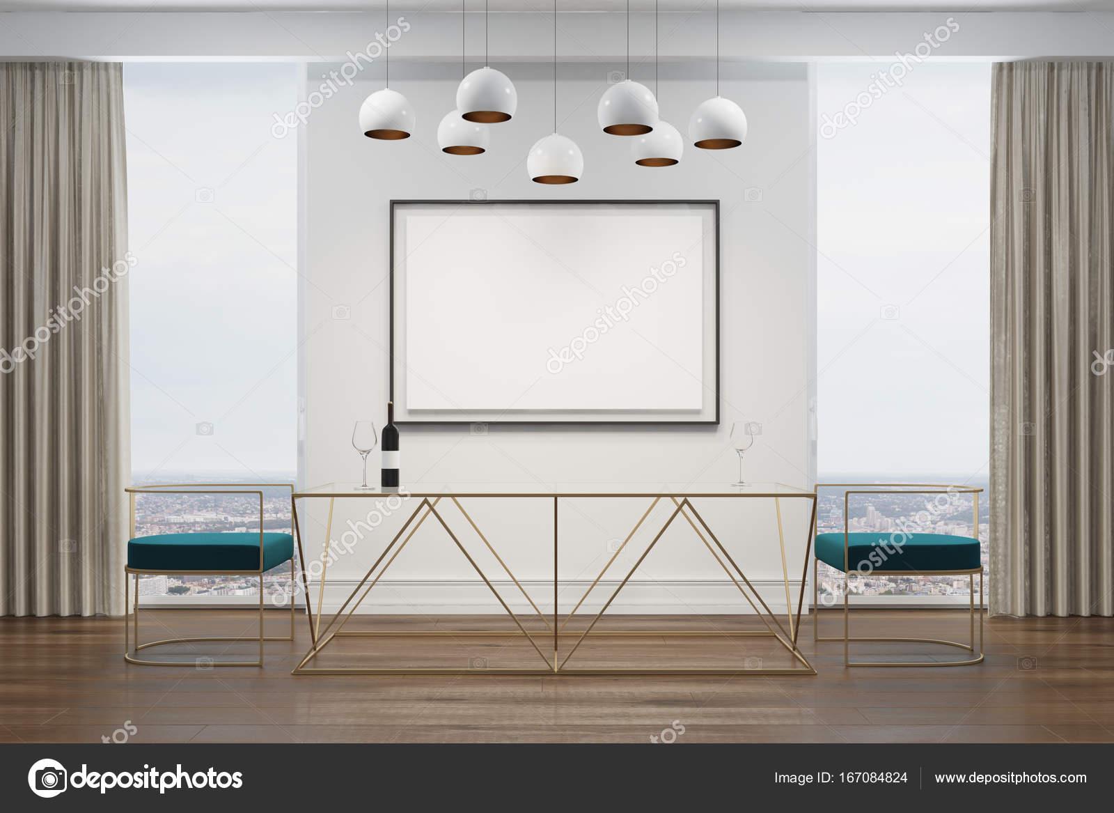 Weiß Esszimmer, Blaue Stühle, Poster U2014 Stockfoto